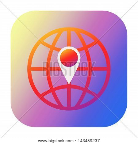 Geo tag icon with globe isolated on white backgrond