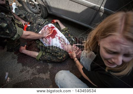 Kyiv, Ukraine - April 13, 2016: Ex-military trainers from Unighted Kingdom provided medical drills for Ukrainian medicine workers