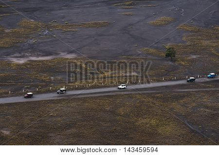 Landscape aerial view of groups of adventure off road driving on road trip