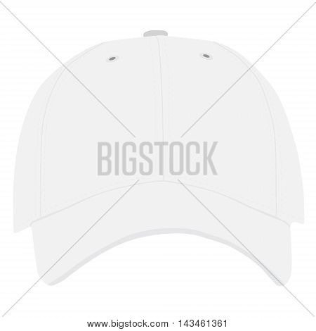 Vector illustration of white baseball cap front view isolated on white background. Baseball cap template design