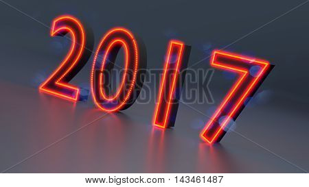 New Year 2017 abstract background, 3d illustration