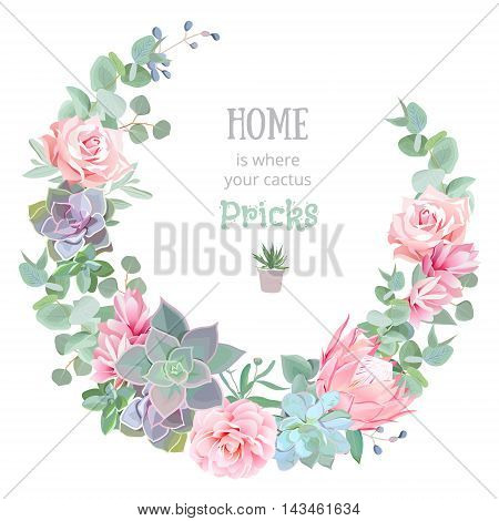 Stylish floral vector design round frame. Rose camellia pink flowers echeveria protea eucaliptus leaves. Natural cactus card in modern funky style. All elements are isolated and editable.