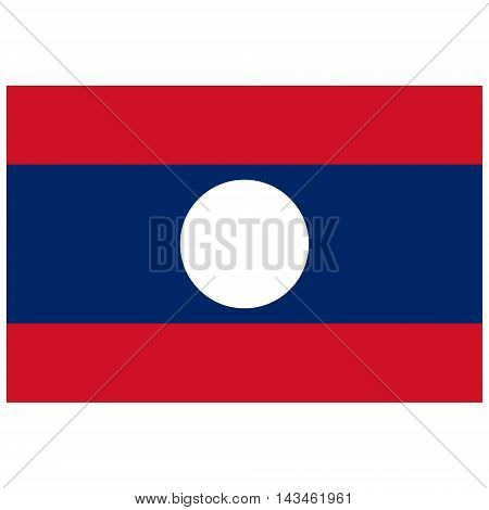 Vector illustration rectangle flag of Laos country. Lao flag. Button or badge