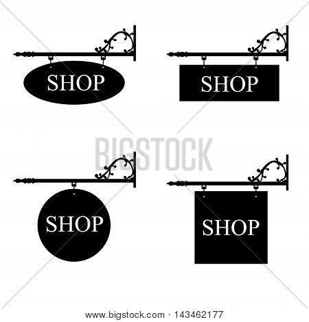 Vector illustration set of vintage old shop signs. Signage shop sign route hanging information banner retailer.