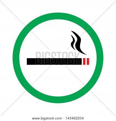 Vector illustration smoking area green sign. Can smoke hear