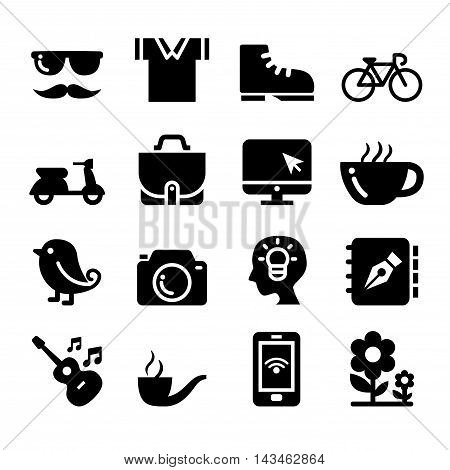 Hipster icons set  Vector illustration graphic design