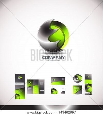 Abstract 3d metal logo green media games corporate sphere