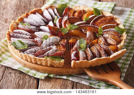 Delicious Sliced Cake Of Ripe Plums Close-up. Horizontal