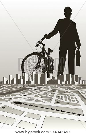 Vector illustration of a businessman and bike silhouette over a city