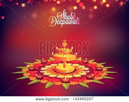 Elegant Traditional Festive Background, Creative Beautiful Rangoli with Illuminated Lit Lamps, Vector shiny illustration for Indian Festival of Lights, Shubh Deepawali Celebration.