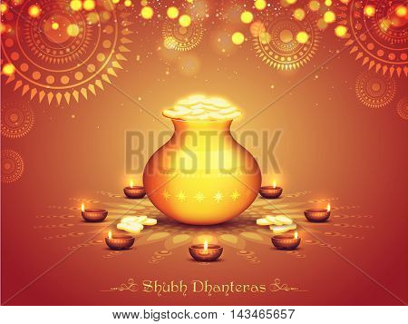 Glossy Pot full of Gold Coins on Illuminated Lit Lamps decorated Rangoli, Elegant Beautiful Festival Background for Shubh Dhanteras Celebration. Vector Illustration useable for Diwali.