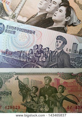 Close up of North Korean bank note, won money