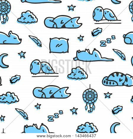 Seamless pattern with bedtime illustrations. Vector doodle sleeping fox, rabbit, raccoon. Sketches of clouds, stars and dreamcatcher