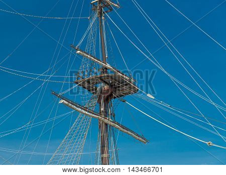 Masts of old Wooden Galleon, Port of Alicante, Spain