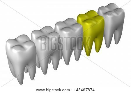 Human teeth isolated on white background. 3D rendering.