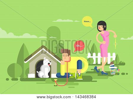Stock vector illustration of sad man sits beside a dog at the doghouse on a leash and dissatisfied woman throwing presents in garbage in flat style.