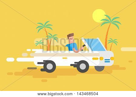 Stock vector illustration happy guy drives a white convertible, man rushes by car among a palm trees on a yellow background in a flat style