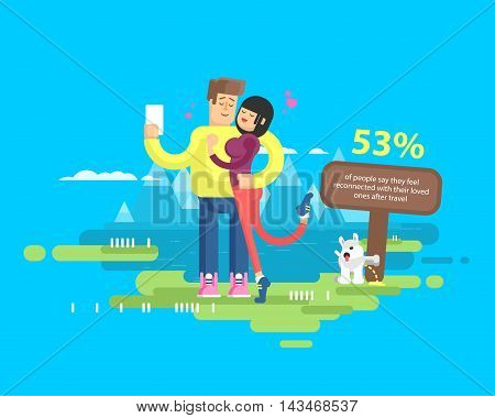 Stock vector illustration of happy married couple on vacation, man and woman embrace and make selfie on background of lake and snow-capped mountains, dog tags territory and pissing on pole, flat style