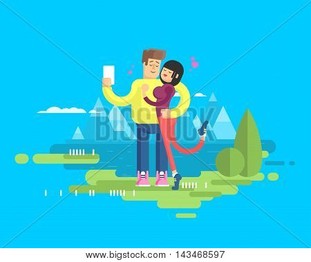Stock vector illustration of a happy married couple on vacation, man and woman embrace and make selfie on the background of the lake and snow-capped mountains in the flat style