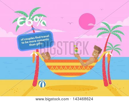 Stock vector illustration of happy tanned man rests in a hammock between two palm trees at the seaside holding a cocktail on the beach