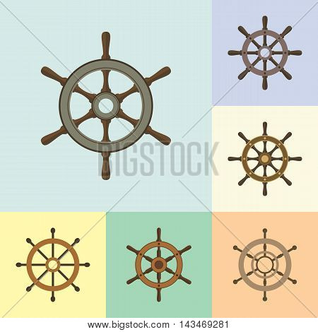 Set of ship helm vector icons flat design. Helm steering wheel icons in flat style. Steering wheel symbols. Ship helm design elements. EPS8 clean vector illustration.