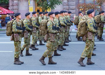 Kiev Ukraine - 19 August 2016: Marines preparing for parade at Kreschatyk street which will take place on the 24-rd of August dedicated to the 25-th anniversary of Independence of Ukraine.