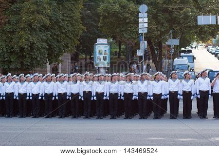 Kiev Ukraine - 19 August 2016: Cadets of navav forces preparing for parade at Kreschatyk street which will take place on the 24-rd of August dedicated to the 25-th anniversary of Independence of Ukraine.