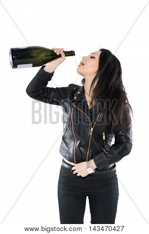 Portrait Of Brunette Pouring Herself