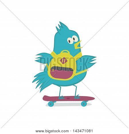 Bird on penny board. Sparrow on skateboard. Vector illustration.