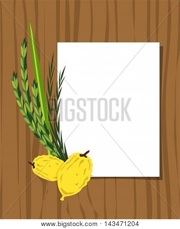 Jewish holiday Sukkot. torah with Lulav, , Etrog, Arava and Hadas. Four species symbols date palm, citron, willow, myrtle vector illustration