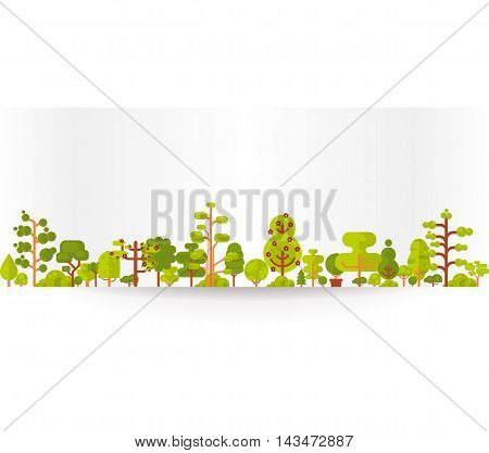 Stock vector illustration of bare banner or strip of paper with green trees and bushes on a white background in a flat style for Environmental Design, eco style, ecology