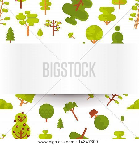 Stock vector illustration seamless pattern with green trees and bushes on a white background in a flat style with bare banner or strip of paper for Environmental Design, eco style, ecology