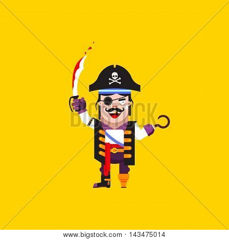 Stock vector illustration a pirate character for halloween in a flat style