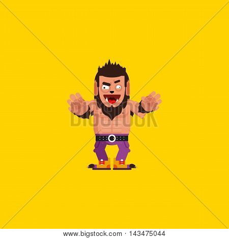 Stock vector illustration a werewolf character for halloween, wolfman in a flat style