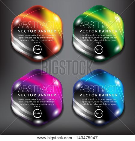 Set of 4 hexagonal, orange, green, blue and violet pebble stones with realistic light and shadow on the black background. Each item contains space for own text. Vector illustration. Eps10.