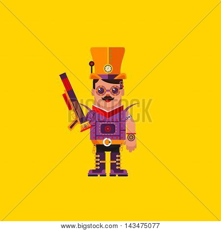 Stock vector illustration a steampunk character for halloween in a flat style