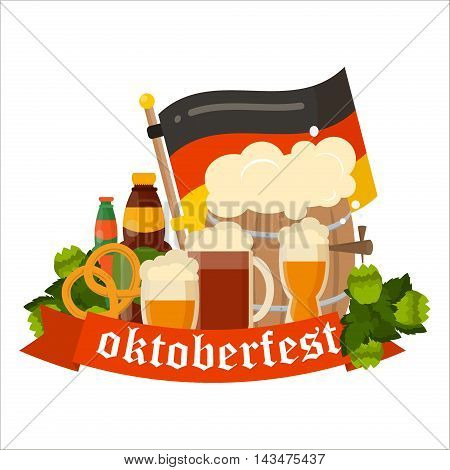 Oktoberfest celebration vector poster. Oktoberfest vector text. Beer Oktoberfest German festival keg of beer, bottle beer. Festive Oktoberfest Banners, Headers with Beer, Wurst, Flag and Pretzel.