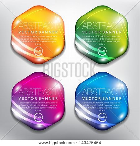 Set of 4 hexagonal, orange, green, blue and violet pebble stones with realistic light and shadow on the white background. Each item contains space for own text. Vector illustration. Eps10.