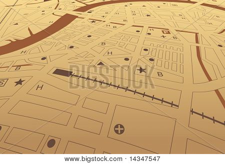 Illustrated street map of a generic city with no names