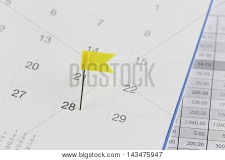 Yellow Pins to Wildcats on the calendar beside the number of twenty eight in business concept time and date.