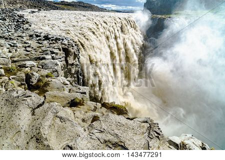 View of a beautiful Dettifoss a large waterfall in Vatnajokull National Park at the Northeast of Iceland