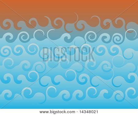 Abstract editable vector background of ocean waves