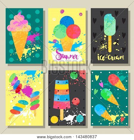 Set of backgrounds with cartoon ice cream. Cute vector illustration for postcards posters notes to do list Journals Card.