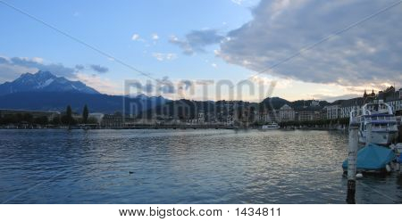 Old Lucerne City And The Lake Des Quatres,Cantons, Switzerland, Panorama