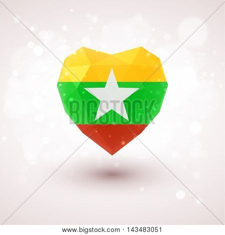 Flag of Myanmar in shape of diamond glass heart in triangulation style for info graphics, greeting card, celebration of Independence Day, printed materialsFlag of Laos in shape of diamond glass heart in triangulation style for info graphics, greeting card