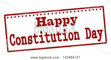 Rubber stamp with text happy constitution day inside vector illustration