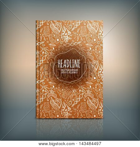 Vector handdrawn biology brochure cover template with beautiful naturalistic pattern. Modern background useful for poster, print, flyer, book, booklet and leaflet design.