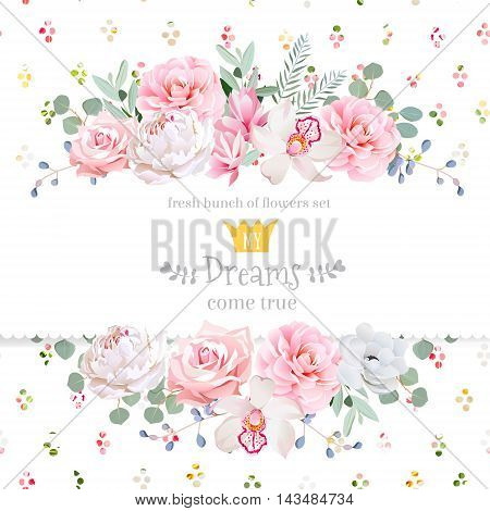 Peony rose orchid camellia pink flowers and decorative eucaliptus leaves vector design card. Rainbow round confetti backdrop. All elements are isolated and editable.