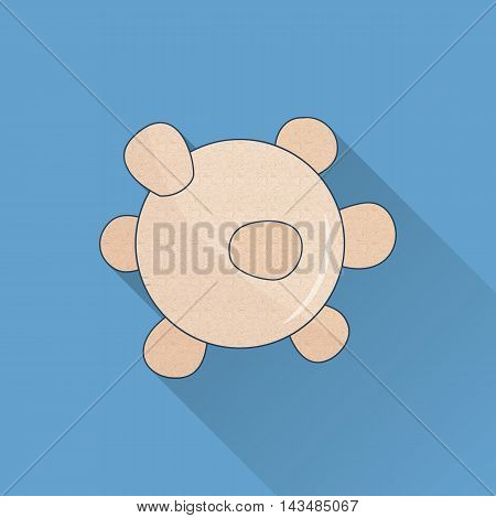 Hand drawn reflexology Thai massage tool. Flat icon colored image with long shadow on blue background.