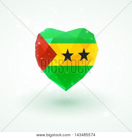 Flag of Sao Tome and Principe in shape of diamond glass heart in triangulation style for info graphics, greeting card, celebration of Independence Day, printed materials